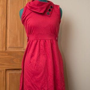 Red Modcloth Cowl Neck Midi Dress